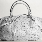 กระเป๋า coach madison laser cut op art leather lg sophia satchel #17003 Pearl Grey