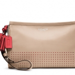 Coach LEGACY PERFORATED LEATHER LARGE WRISTLET # 48957 สี Beige/Bisque