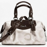 PROMOTION ลูกค้าเก่า !!! COACH ASHLEY DOTTED OP ART SATCHEL # 20027 สี Ivory / Mahogany