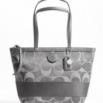 COACH SIGNATURE STRIPE 3 COLOR METALLIC TOTE BAG # 20429 สี SILVER GREY