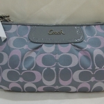 Coach Signature sateen large wristlet # 47896 สี Grey/Pink