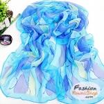 ผ้าพันคอแฟชั่นสวยหรู Luxury : สีฟ้า CK0071