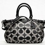 Coach MADISON OP ART METALLIC OUTLINE SOPHIA SATCHEL #18650 SV/ Black White
