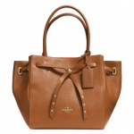 COACH TURNLOCK TIE SMALL TOTE IN REFINED PEBBLE LEATHER # 35838 สี Light Gold/Saddle/Watermelon