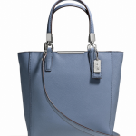 COACH MADISON MINI NORTH/SOUTH TOTE IN SAFFIANO LEATHER # 29901 สี SILVER/CORNFLOWER