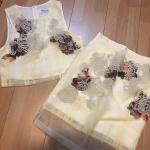 """L """"พร้อมส่ง""""เสื้อผ้าแฟชั่นราคาถูก Brand Maltida set 2 ชิ้น ชุดลายดอกสีเหลืองผ้าแก้ว เสื้อแขนกุด ซิปหลัง มีซับใน +กระโปรงลายเดียวกัน ซิปข้าง -size L"""