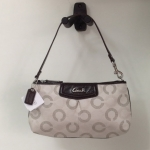 Coach Ashely Dotted Op Art Large Wristlet # 48053 สี Khaki Mahogany