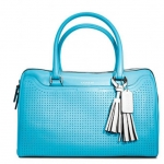 Coach  legacy perforated leather haley satchel #  23577 สี  Robin/Chalk