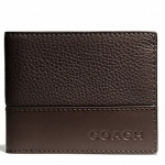 COACH CAMDEN LEATHER SLIM BILLFOLD # 74638 สี MAH/DARK MAHOGANY