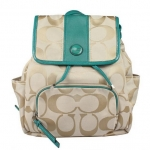 COACH SIGNATURE STRIPE BACKPACK # 21928 สี LIGHT KHAKI/JADE
