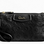 Coach ashley lace leather large wristlet # 48807 สี brass black