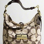 Coach Kristin Signature Linen Hobo - Dark Brown 16817