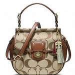 COACH Poppy Signature New Willis Cross Body Handbag Bag # 19034  B4 / KHAKI / BRITISHTAN