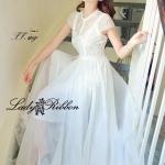 4HH913/555 White Glamour Classy Lace Maxi อกลูกไม้ มีแขน กระโปรง Silk Satin นุ่มมมมม ทรงพริ้วสวยมากค่ะ