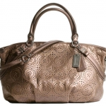 กระเป๋า coach madison laser cut op art leather lg sophia satchel #17003 Bronze