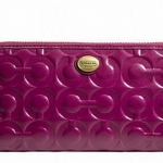 COACH PEYTON OP ART EMBOSSED PATENT LEATHER ZIP WALLET # 49962 BRASS/PAS BERRY