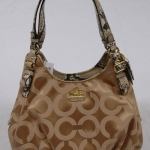 COACH Madison Op Art Sateen Maggie Shoulder Bag # 17689 สี khaki / natural python