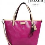 Coach 26731 PARK METRO PATENT SMALL TOTE # 26731 สี bright magenta