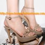 [พร้อมส่ง] รองเท้าส้นสูง สีเนื้อ เป็นสายคาดสองเส้น ข้างหน้า และมีสายขาดข้อเท้า สายทุกเส้นปรับขนาดได้นะคะ ไซส์37#38#