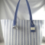 PROMOTION ลูกค้าเก่า !! Coach legacy weekend ticking stripe pvc zip top tote # 23108 สี Silver/Chambray (Blue)
