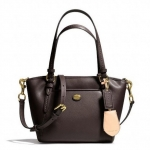 COACH PEYTON LEATHER MINI POCKET TOTE # 26029 สี BRASS/MAHOGANY