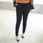 กางเกงขายาวผ้ากำมะหยี่หนาไซส์ใหญ่ ปลายขาติดซิป สีดำ (XL,2XL,3XL,4XL,5XL)