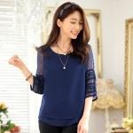 เสื้อชีฟองไซส์ใหญ่ สีน้ำเงิน แขนสามส่วน ผ้าเนื้อนิ่มใส่สบาย (XL,2XL,3XL)