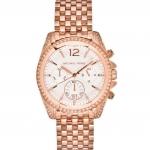 นาฬิกาข้อมือ Michael Kors Pressley Chronograph White Dial Rose Gold-tone Ladies Watch MK5836