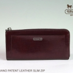 COACH DARCY PATENT LEATHER SLIM ZIP WALLET # 50438 สี Silver / Burgundy
