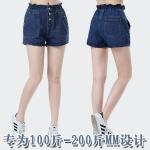 กางเกงยีนส์ขาสั้นเอวยางยืดไซส์ใหญ่ใส่สบาย สีน้ำเงิน (XL,2XL,3XL,4XL,5XL,6XL)