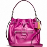 COACH DAISY LEATHER DRAWSTRING SHOULDER BAG # 25661 สี BRIGHT MAGENTA