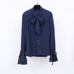 เสื้อเชิ้ตชีฟองผสมลินินเนื้อดี สีน้ำเงินเข้ม แขนกระดิ่งแต่งโบว์ดำเก๋ ๆ ช่วงคอเสื้อมีโบว์ผูกสวย ๆ (XL,2XL)