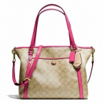 COACH PEYTON Pocket PVC Leather Tote # 25504 สี BRASS/LIGHT KHAKI/POMEGRANATE