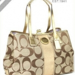 COACH SIGNATURE STRIPE SATCHEL # 13533  KHAKI GOLD