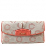 Coach Ashley Dotted Op Art Checkbook Wallet # 48049 สี Khaki / Tearose