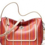 COACH LEGACY WEEKEND TICKING STRIPE CROSSBODY # 23468 สี Silver/ Pink/ Lime