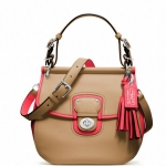 Coach Legacy Archival Two Tone Leather Willis Convertible Bag # 22409 สี Silver/Light Sand/Watermelon