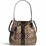 COACH 30581 SIGNATURE STRIPE DRAWSTRING SHOULDER BAG # 30581 สี KHAKI MAHOGANY