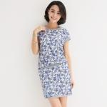 ชุดเซ็ทไซส์ใหญ่ เสื้อ+กระโปรง ผ้าคอตตอนลายดอกไม้ สีชมพู/สีน้ำเงิน XL 2XL 3XL 4XL