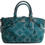 COACH Madison Dotted Op Art Sophia Satchel # 15935 Teal