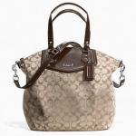 COACH ASHLEY SIGNATURE NORTH/SOUTH SATCHEL # 25185 สี KHAKI MAHOGANY