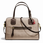 COACH POPPY EAST/WEST SATCHEL IN MINI OXFORD SIGNATURE C JACQUARD # 25047 สี BRASS/KHAKI/MAHOGANY