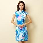 ++พร้อมส่ง++ ชุดกี่เพ้าสั้นผ้าซาตินไซส์ใหญ่ คอจีน กระดุมจีน แขนในตัว สีฟ้าลาย (3XL)