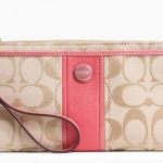 COACH SIGNATURE STRIPE ZIPPY WALLET # 49139 สี Light Khaki /Coral