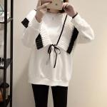 เสื้อกันหนาวไซส์ใหญ่ ทรงหลวม สีขาว/สีเทาอ่อน (XL,2XL,3XL,4XL,5XL)