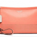 Coach LEGACY PERFORATED LEATHER LARGE WRISTLET # 48957 สี Coral/Sand