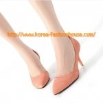 [พร้อมส่ง] รองเท้าส้นสูง สีส้ม เปิดข้าง หัวแหลม ส้นไม่สูงมาก ไซส์ 38