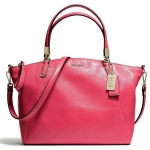 COACH MADISON SMALL KELSEY SATCHEL IN LEATHER # 28095 สี LIGHT GOLD/PINK SCARLET