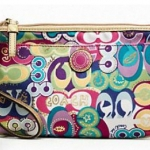 Coach SIGNATURE STRIPE PRINT LARGE WRISTLET # 47822