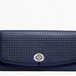 Coach Legacy Perforated Slim Envelope Wallet # 49059 สี Silver/Navy